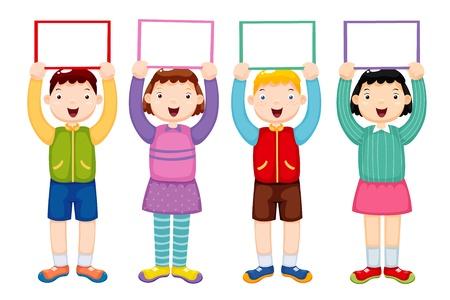 illustration of kids holding white blank