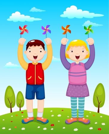 wind wheel: illustrazione di bambini che giocano vento ruota