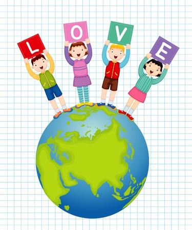 safe world: illustration of kids holding text love Illustration
