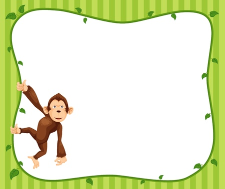 Illustration of  Monkeys frame vector Vector
