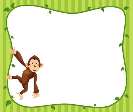 humor jump: Illustration of  Monkeys frame vector Illustration