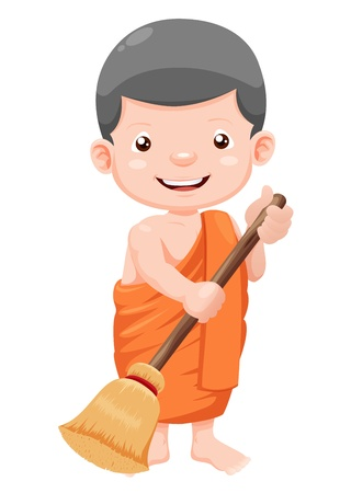Cute young monk cartoon Vector