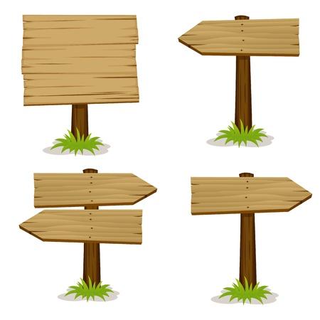 Segni di legno set Vettoriali