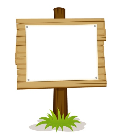 Wooden sign with white blank Vector
