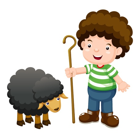 cartoon sheep: Little shepherd and black sheep  Illustration