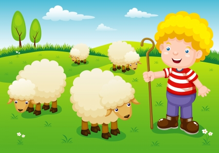 cartoon sheep: illustration little shepherd