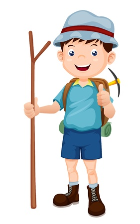 cartoon summer: Boy Hiking  illustration