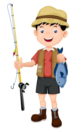 cartoon fishing: fisherman with fish illustration Illustration
