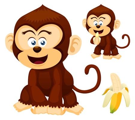 jungle jumping: Illustration of cute Monkeys