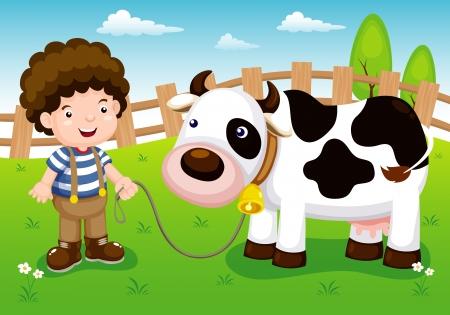 illustrazione di bestiame giovane e mucca in fattoria