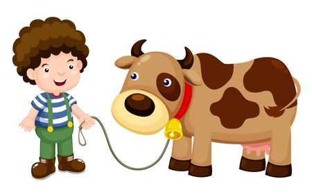 Young cattle and cow Stock Vector - 15063121