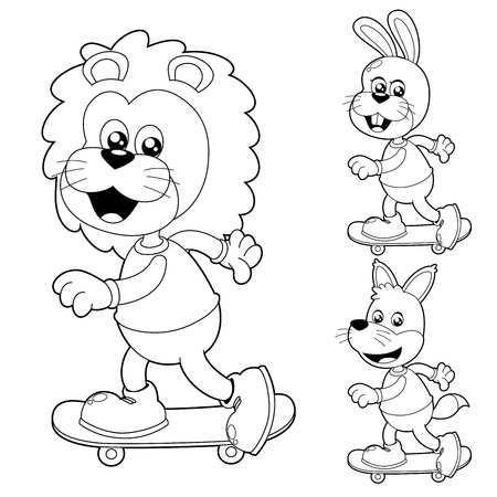 Illustration of cute animals on Skateboard Vector
