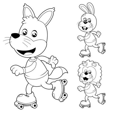 little skate: Illustration of cute animals on roller Skate Illustration