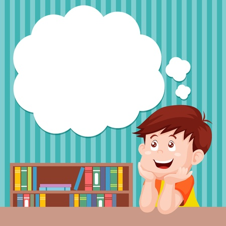 concentrate: Cartoon boy thinking with white bubble for text