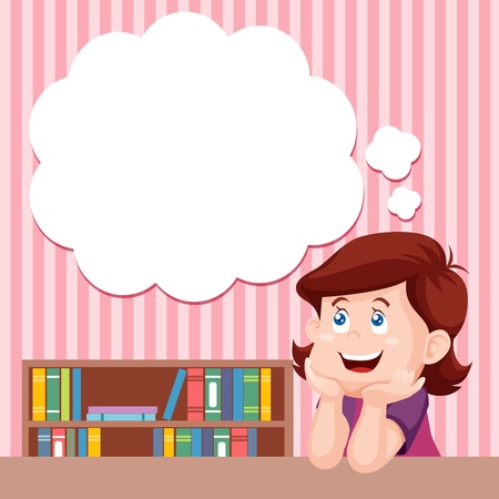 Cartoon girl thinking with white bubble for text Stock Vector - 15063152