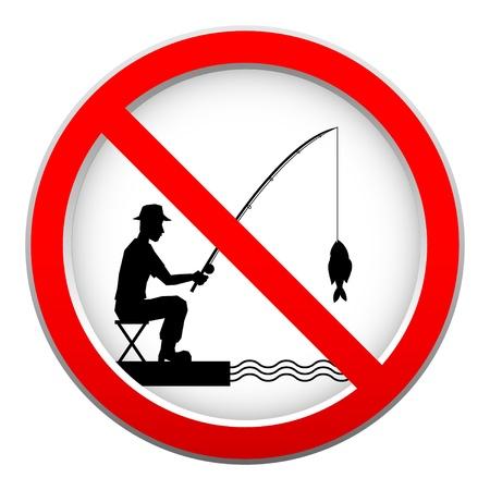 Кнопки: Нет рыбалка знак Иллюстрация