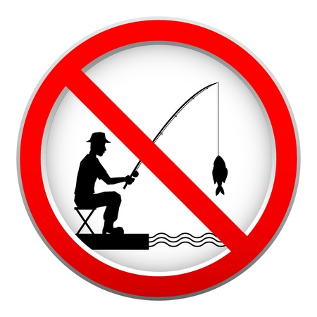 round rods: No fishing sign