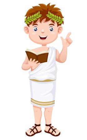 roma antigua: Dibujos animados hombre griego antiguo Vectores