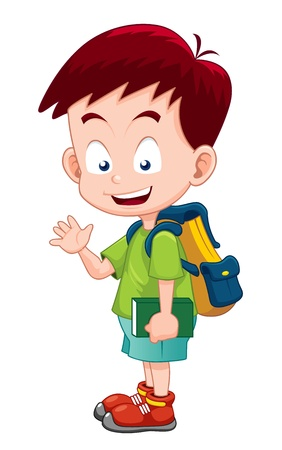 niño con mochila: Chico lindo ir a la escuela Vectores