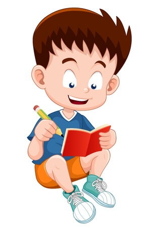 study concept: illustration of boy reading open book Illustration