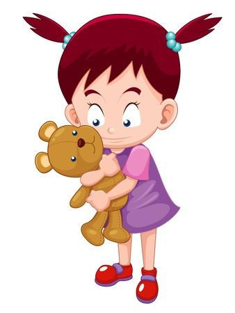 cute girl with teddy bear: Illustration of Girl Hugging  teddy bear Illustration