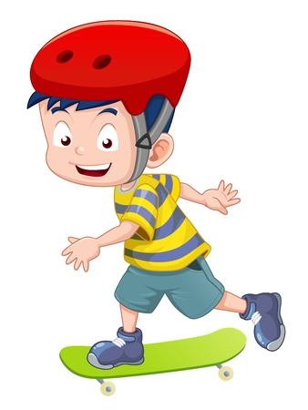 boy skater: Little boy skateboarding