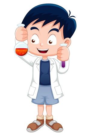 scientist lab: Little boy holding test tube Illustration