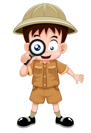 kid cartoon: Boy scout with magnifying glass