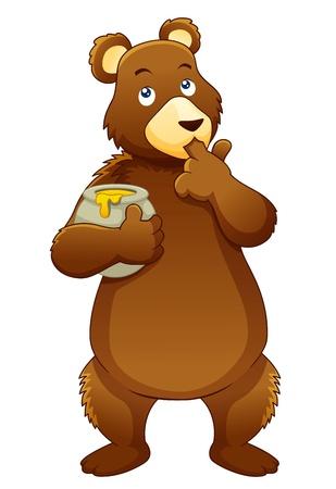oso caricatura: Ilustración del oso de miel alimentación