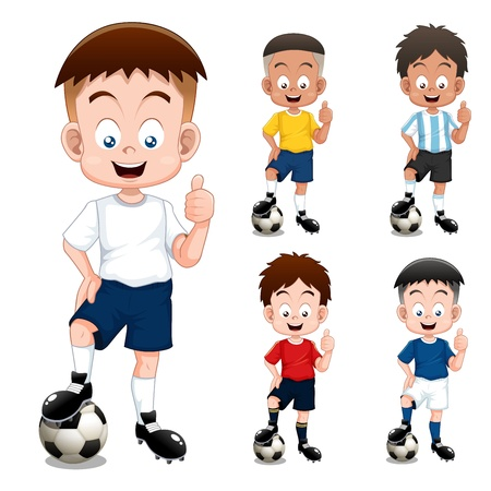 Boy soccer player international collection Vector