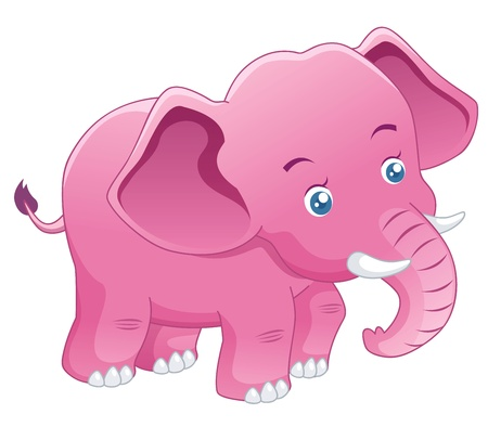 Cute Elephant pink   Vector