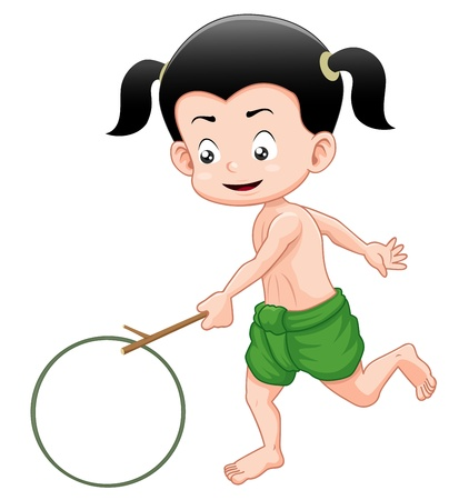 young culture: Thai boy playing toy Illustration