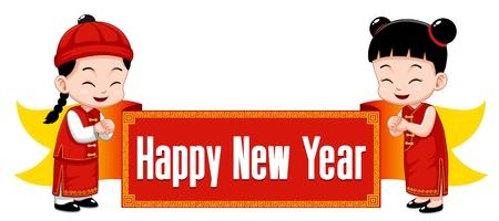 nouvel an: Enfants chinois avec signe Happy New Year