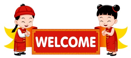 Chinese Kids with Welcome sign Vector