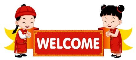ni�as chinas: Ni�os chinos con cartel de bienvenida Vectores