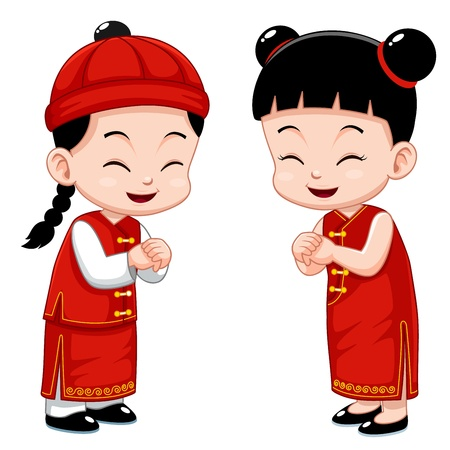new year card: Chinese Kids  Illustration