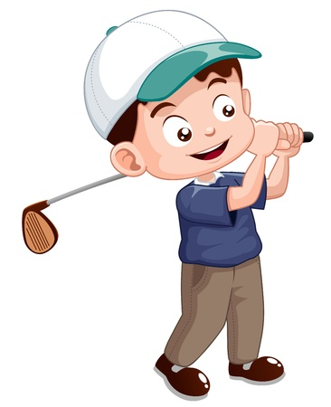 golf field: illustration of young golf player