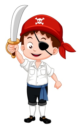 cute cartoon boy: Illustration of pirate boy holding sword