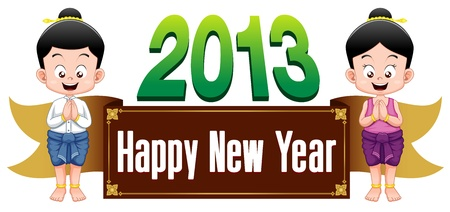 Thai kids with Happy New Year 2013 sign Vector