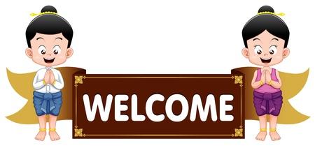 welcome sign: Enfants tha�landais avec panneau de bienvenue