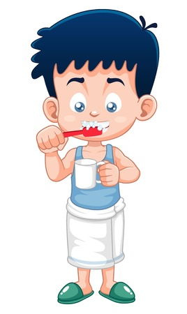 cleanliness: illustration of Boy brushing his teeth Illustration