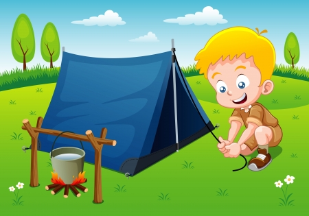 Boy scout camping with camping tent Stock Vector - 15311133