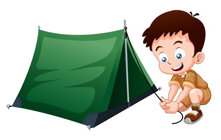 people hiking: Boy scout with camping tent Illustration