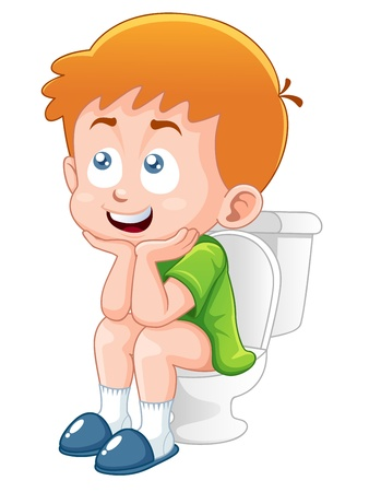 Little boy is sitting on the toilet
