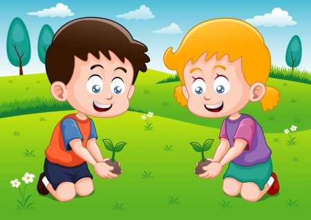 plant seed: Little kids is planting small plant in garden