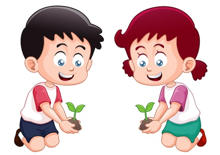 Little kids is planting small plant Stock Vector - 15300368