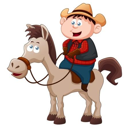 caricatura caballo: Vaquero que monta a caballo Vectores