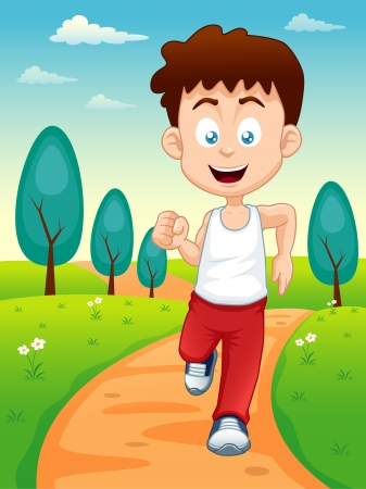 youth sports: illustration of a boy jogging in the park Illustration