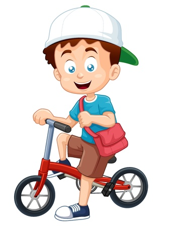 zapatos caricatura: ilustración del muchacho en una bicicleta