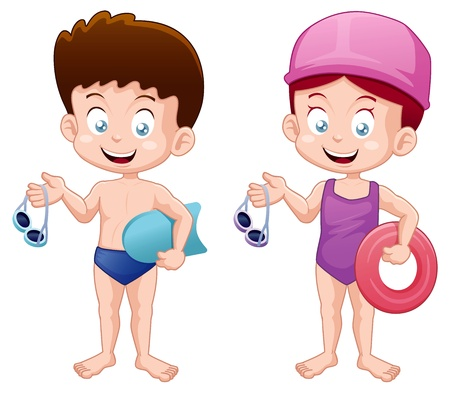 pool fun: illustration of Little Kids in swimming suit